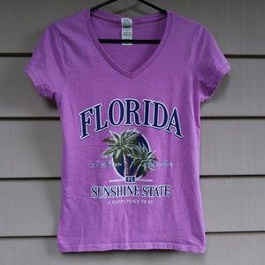 Florida Sunshine state purple kawaii V Neck Small